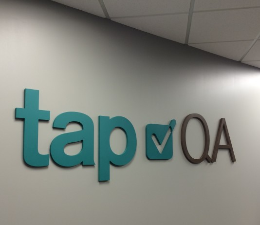 lobby signage for Tap QA