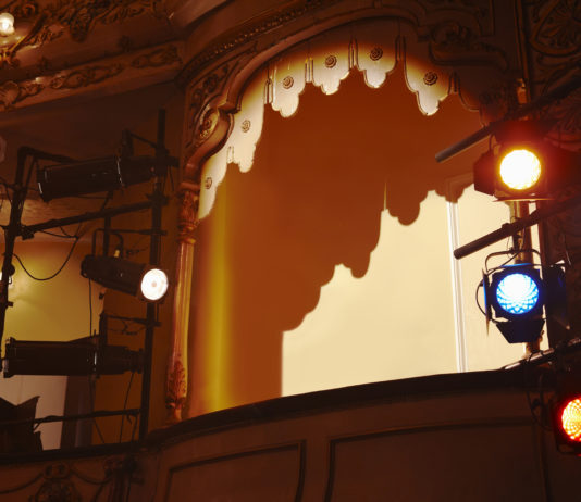 Low angle view of spotlights and theater