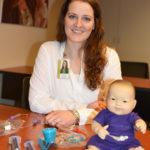 Rachael Halvorson demonstrates pediatric feeding tube